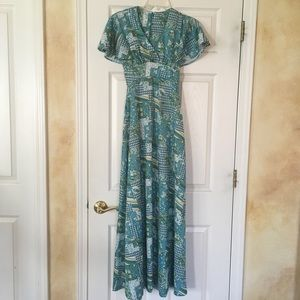 Vintage seventies poly knit maxi dress small
